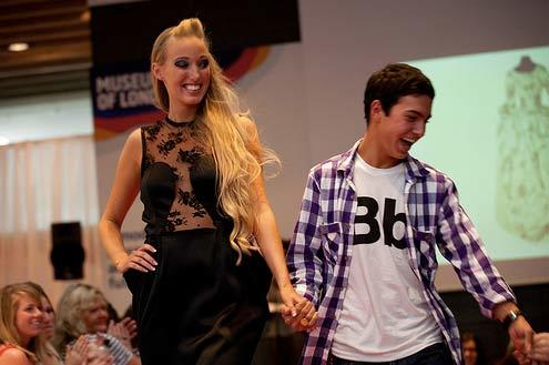 Brett Martindale Durning - last year's winner - takes to the catwalk with one of his models