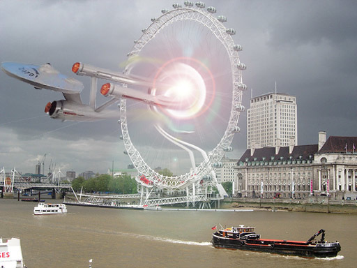 A wormhole opens at the London Eye.