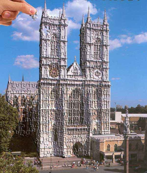Westminster Abbey as jigsaw puzzle.