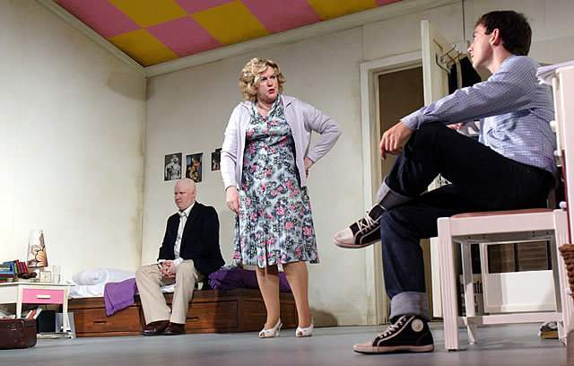 Matt Lucas (Kenneth Halliwell), Gwen Taylor (Mrs Corden) and Chris New (Joe Orton) in Prick Up Your Ears Photo by Catherine Ashmore
