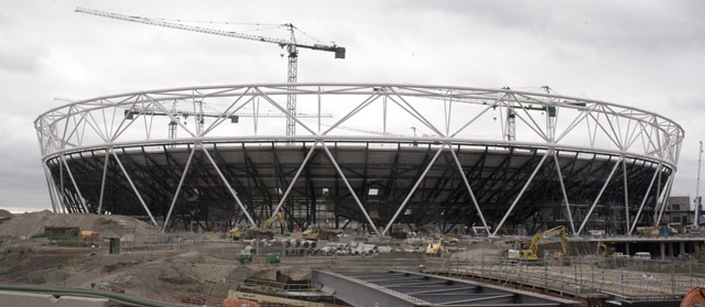 A north-east view of the Olympic Stadium, about as close as you can come without working for the ODA. The stadia are all planned to be finished by 2011 for a series of public test events. Proposed ideas include moving London's official 2011/12 New Years Eve from the Thames to the Olympic Park
