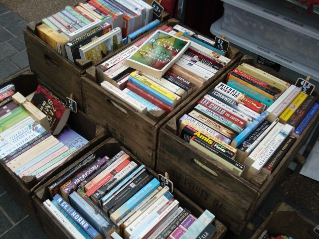 Second hand books in their vintage bushel boxes