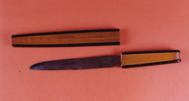 Wooden and steel dagger with wooden sheaf in shape of a folding fan. Japanese, 19th century