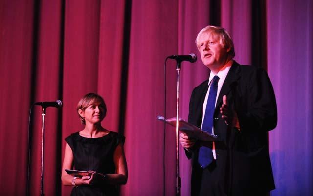 Creative Director of London Film Festival Sandra Hebron looks on during Boris Johnson's speech