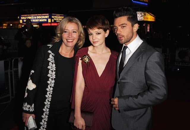 Emma Thompson, Carey Mulligan and Dominic Cooper, who star in 'An Education', arrive for the premiere last night