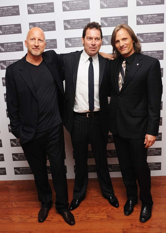 Director John Hillcoat, Writer Joe Penhall and Actor Viggo Mortensen arrive for the premiere of 'The Road' on Friday