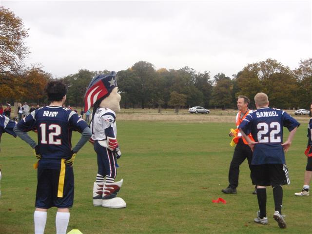 Like last year's International Series game, there were a lot of decisions on the field based on obscure rules. Patriot Pat wasn't happy with this flag.