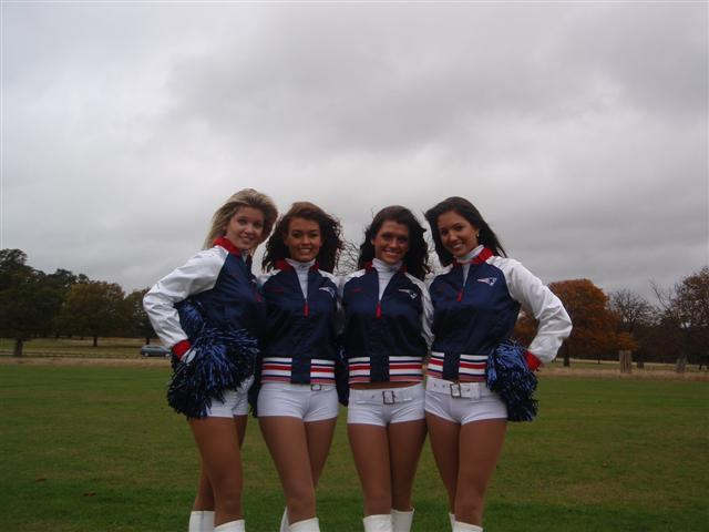 The Patriots cheerleaders seem to be everywhere: London Eye, Buckingham Palace, signings, radio interviews... and they even came down to Richmond Park on a grey Saturday, although they happily admit the weather was nicer than the snow-bound game last week at Foxborough.