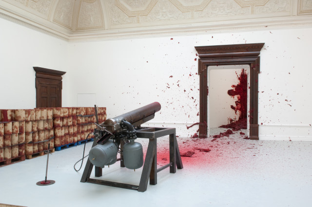 Anish Kapoor 'Shooting into the Corner' 2008-09, installed at the Royal Academy of Arts, London, 2009 Photography: Dave Morgan