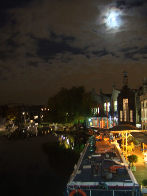 Although you wouldn't want to walk the canal at night time, looking out from Camden bridge offers an attractive view.