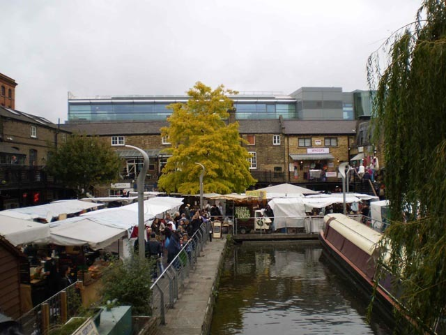 People queue up in Camden Market to take the pleasure boat to London Zoo and on to Little Venice.