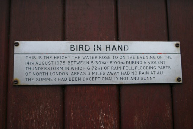 A plaque on the long-defunct Bird in Hand pub marks a major flooding of the Westbourne.
