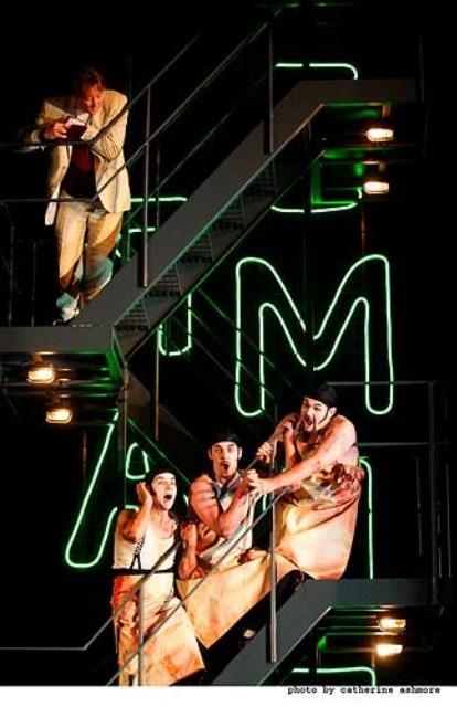 Ping, Pang, and Pong sing about Turandot's cruelty