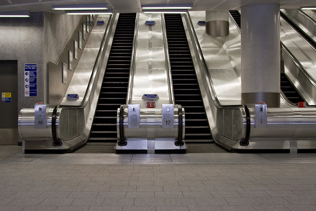 Two of the ten new escalators