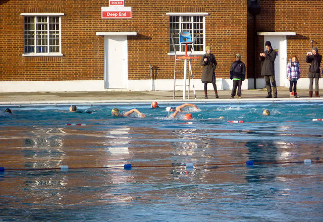 The more experienced winter swimmers take laps