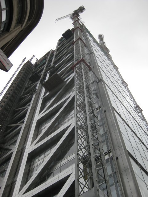 This corner view shows the distinctive diagonal bracing that, along with the spire, will be its most recognisable feature.