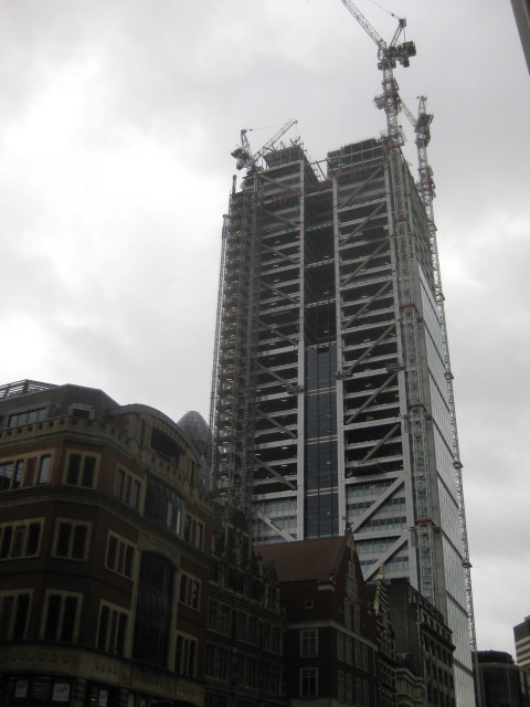 From Liverpool Street station on Bishopsgate, the tower dominates the road.