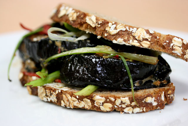 A sandwich with aubergine marinated in miso, mirin and soy and sprinkled with sesame seeds and spring onions. Part of the ongoing Sandwichist series, dedicated to finding the best sarnie since sliced bread. Browners