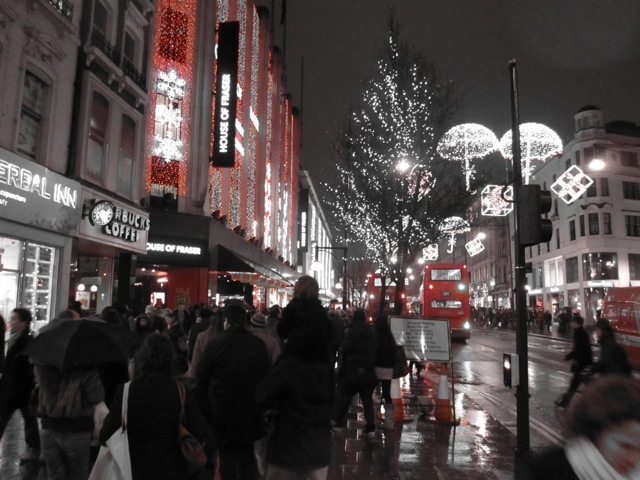 Oxford Street thronged with laden sale shoppers