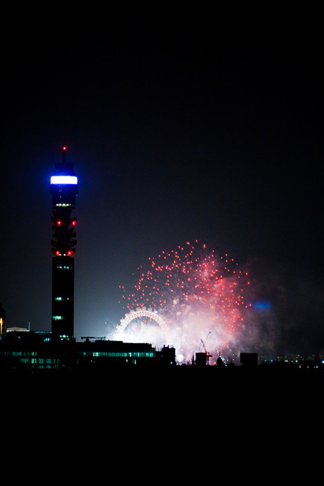 Fireworks and the BT Tower Photo / sinister pictures