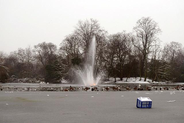 Part-frozen fountain in Victoria Park DeanN