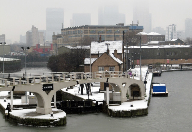 Frozen bow locks at Bromley-by-Bow  Helen Babbs