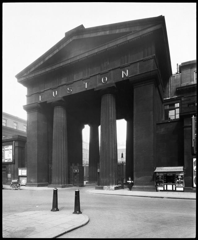 An heroic monument to Britain's railway age. This huge Greek Doric gateway, built in 1838, rose over 70ft to form a gigantic gateway to Euston, the first mainline terminus in a capital city anywhere in the world. Its demolition in 1962 triggered a public outcry which did much to boost the growth of the conservation movement.