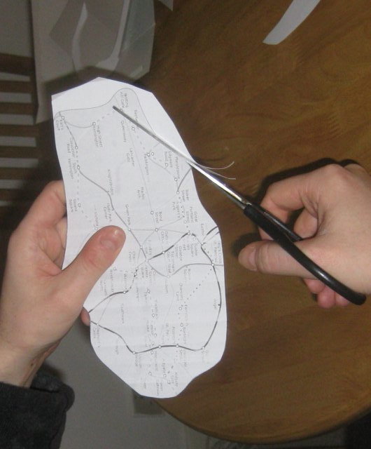 Next, carefully cut around the outline of the territory. Make sure you have a responsible adult on hand to supervise.