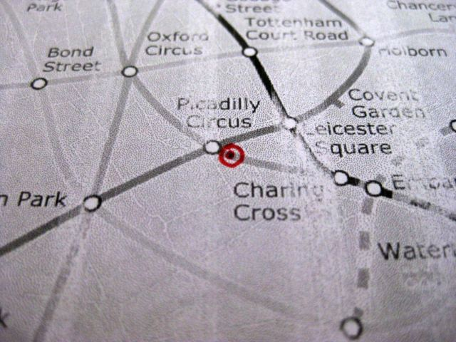 The Zone 1 Tube map is a less precisely defined entity, so the results are open to criticism. However, our best approximation put the centre of gravity just south-east of Piccadilly Circus, perhaps at the top of Haymarket. That's pretty close to the 'official' centre of London in Trafalgar Square.