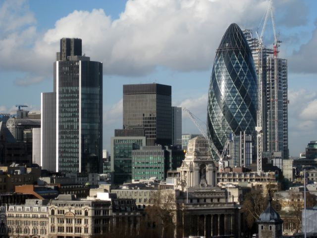 The new Heron Tower peaks out from behind the Gherkin, in this view from Tower Bridge balcony.