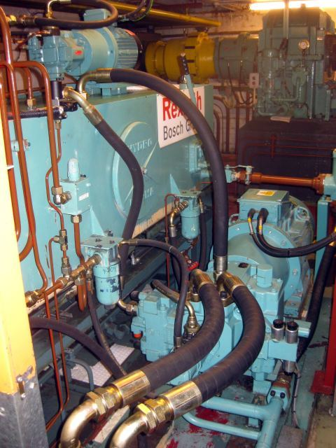 The modern electrical engine for raising and lowering the bridge.