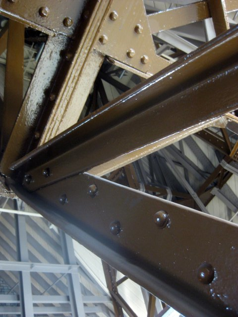 The roof space of the towers is a cat's cradle of steel and wooden supports.