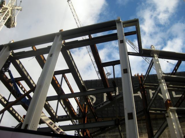 Closeup of part of the steel frame.