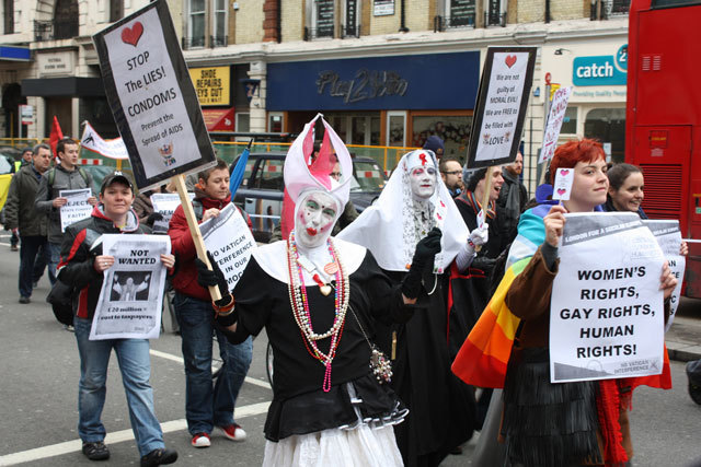 Sisters of the London House of Common Sluts of the Sister of Perpetual Indulgence and protesters on Victoria Street