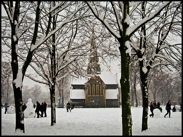 Turnham Green Church turns into a surreal winter wonderland just for a day. Just one of many scenes from the arctic blizzard in London on 2nd February 2009.