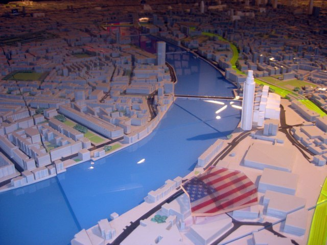 A big old stars and stripes marks the spot of the future embassy on NLA's London model.