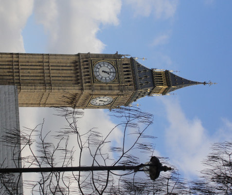 "Westminster: ""A suspense... before Big Ben strikes. There! Out it boomed. First a warning, musical; then the hour, irrevocable. The leaden circles dissolved in the air."" (p. 2)"
