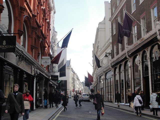 "Bond Street: ""Bond Street fascinated her; Bond Street early in the morning in the season; its flags flying; its shops; no splash; no glitter; one roll of tweed in the shop where her father had bought his suits for fifty years; a few pearls; salmon on an iceblock."" (p. 8)"