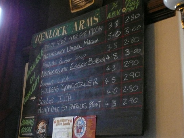 The real ales on offer.