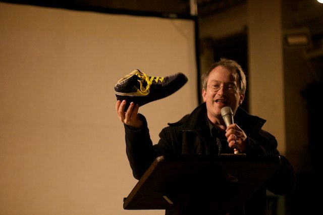 Robin Ince with an audience member's Buzz Aldrin-designed shoe