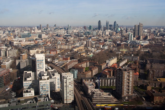 The view across London from the 42nd floor. Note the Metro Central Heights buildings by Erno Goldfinger in the foreground, which will be retained during redevelopment of the E&C.