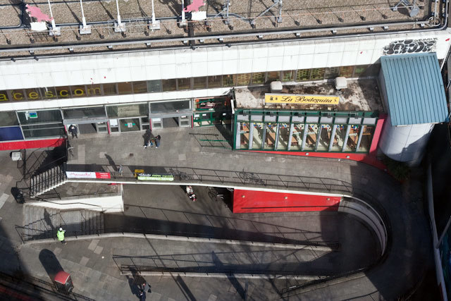 Looking down towards the rear of the Elephant and Castle shopping centre.