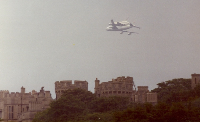 The shuttle, piggybacking on a modified Boeing 747, flies over Windsor Castle and Slough, home of the great Uranus-discovering astronomer William Herschel. Image by Chimemark and used with permission.