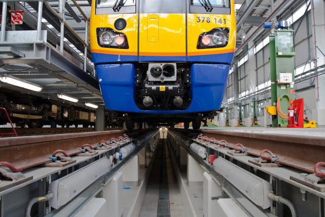 Overground train in maintenance shed, New Cross depot