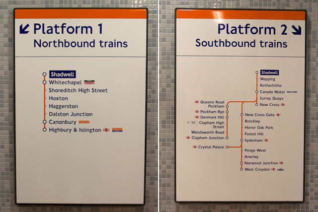 Route maps at Shadwell: the extensions to Highbury & Islington and Clapham, due to open in 2011 and 2012 respectively, are shown on these maps