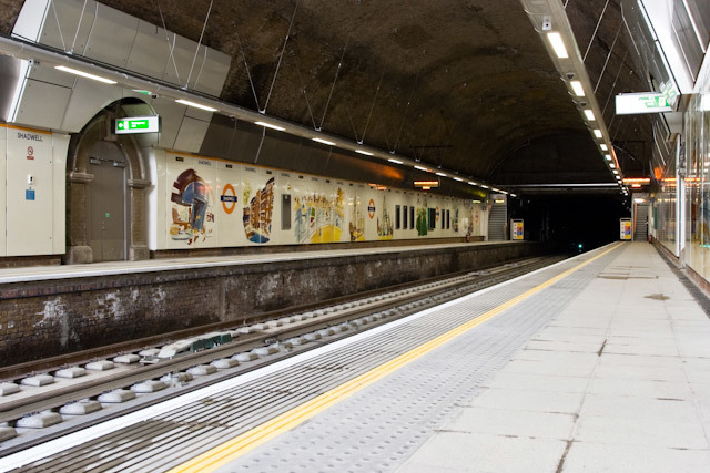 Shadwell station; the painted murals from the mid-Nineties refurb have survived