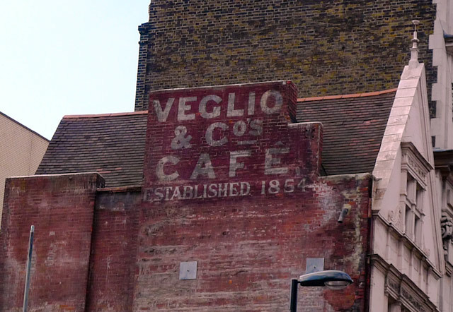 Veglio & Co, Oxford Circus; this long-lost sign was uncovered last year when the adjacent building was torn down as part of the Crossrail work at Tottenham Court Road
