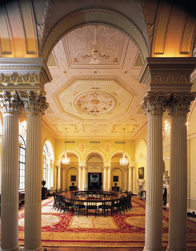 The Court Room: The Bank of England's governing body, the Court of Directors meets in this room.  The original design is by Sir Robert Taylor and dates from 1774.  During the rebuilding of the Bank (1925-1939), by the architect Sir Herbert Baker, this room was moved from the ground floor to its present location.