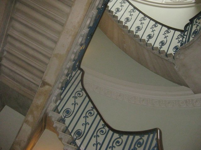 The Nelson Stair. An elegant, curving stairway that's very difficult to photograph.The staircase is a replica, replacing the original which was destroyed in the Blitz. Architect William Chambers' original plans were followed in creating the replacement.