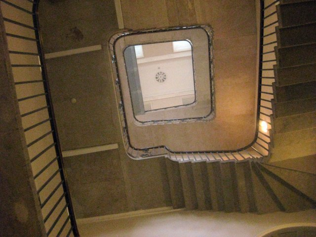 At the opposite end of the wing is the Stamp Stair, named after the practice of stamping newspapers which once occurred here. The staircase sports a curvaceous iron bannister in its upper reaches, but switches to mundane bars along the lower servants floors.
